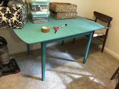 Danish Modern dining table w/ two leaves