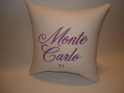 Find vintage custom made 71 MONTE CARLO car show pillow white motorcycle in Bartlesville, Oklahoma, US, for US $14.95
