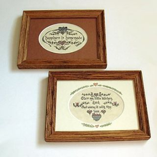 VTG WALL ART KITCHEN SAYINGS OAK FRAMES 8X6