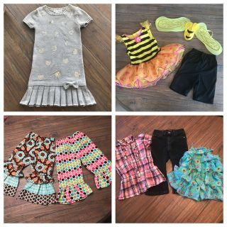 Girls size 3T pants, tops, bee costume & size 4 dress