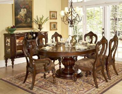 $1,595, H1390-76 Round Oval Dining Room w 6 Chairs