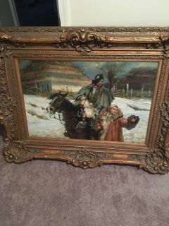 Man riding Horse beside a woman Painting