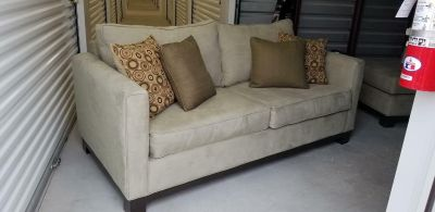 Crate & Barrel Sage Green couch and chaise lounge SET