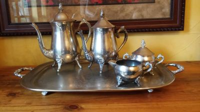 Oneida Silver Tea Set with Silver Serving Tray