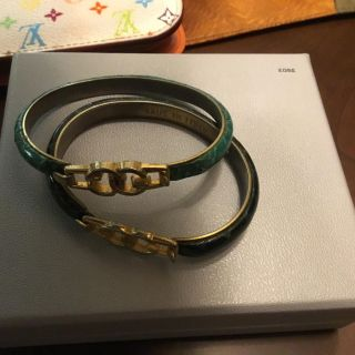 Vintage Gucci Snakes Skin Logo Bangles , 24K gold plated. Florence Italy.