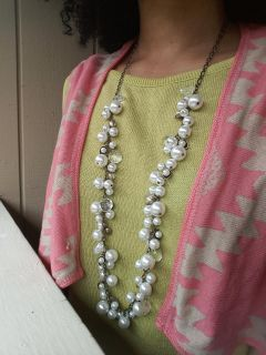 Chloe Isabel Crystal pearl style long necklace