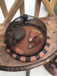 Primitive wood painted plate, mouse, candy corn and screen cover