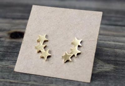 Brand New Brushed Gold Star Climber Earrings