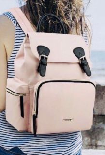 Pink backpack diaper bag