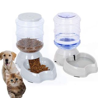 Automatic Pet Feeder,Pet Water Feeder Fountain,Dog Cat Water Food Dispenser Bowl,Pet Waterer Fee...