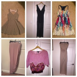Lot (3 dresses, top, romper, skirt) all size Small
