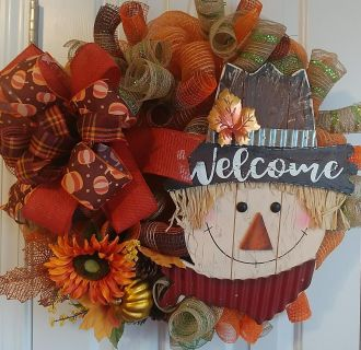 Fall Welcome Scarecrow Deco Mesh Wreath