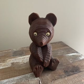 Wooden Brown Hand Carved Bear