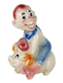 "VERY RARE ""HOWDY DOODY BANK"" GLAZED CERAMIC PIGGY BANK."