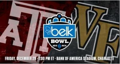 Belk Bowl Tickets! - Dec. 29th - WF and Texas A&M - 3 Tickets - Lower Level Section 130