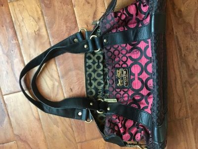 Pink and Black Coach Purse