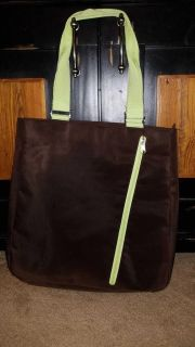 Brown and green type bag