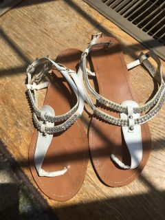 Cute sandals with rhinestone strip across the top