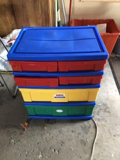 6 Drawer primary colored storage container.