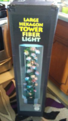BRAND NEW IN BOX LARGE HEXAGON TOWER FIBER OPTIC LIGHT