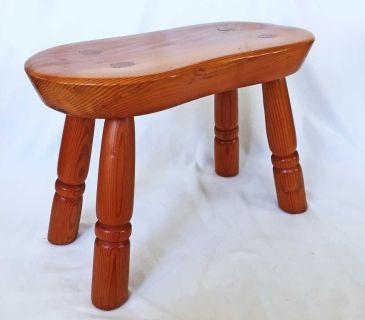 Vintage Rustic Elongated Stool Massive Wood
