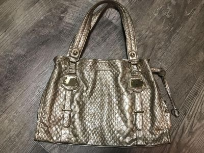 Jessica Simpson crocodile embossed gold tote excellent condition