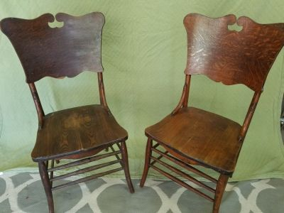 2 Vintage Wood Chairs Made By George Spratt Company Sheboygan, WI