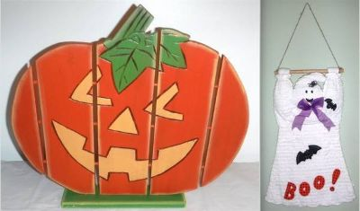 Pumpkin / Jack-o-Lantern -AND- Hanging Ghost Halloween Decor