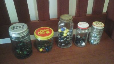 Vintage Glass Bottles And Jars With Marbles Inside- Vintage Decor