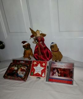 """Tree topper 8"""" tall, Christmas dogs, 4 Christmas coasters in holder, Santa Comes to Town 2 CDS, 2 sets playing cards in tin ( new) All $8"""