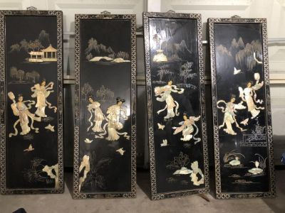 Chinese wall planks hand painted also has oyster shell