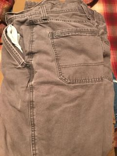 Grey fleece lined canvas pants from Eddie Bauer