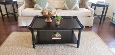Black Distressed Coffee Table with Bottom Shelf.