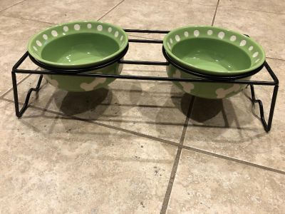 Green ceramic dog and or cat dishes and stand