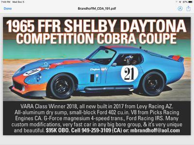 1965 FFR Shelby Daytona Competition Cobra Coupe