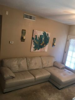2 Piece Sectional Leater Couch w/Chaise Lounge