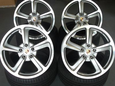 "Porsche 991 CarerraS 911 OEM 20"" Sport Techno wheels with color crest center caps"