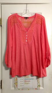 Pretty cotton, rayon top by RXB. Size 1X. Asking $2.00. Has two tiny holes