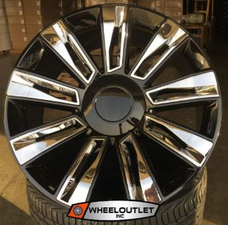 """Find 22"""" Rims 2016 Platinum Black Chrome Wheels Tires Cadillac Escalade EXT ESV 24 motorcycle in Mira Loma, California, United States, for US $1,479.99"""