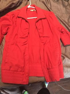 Red jacket size large but fits more like a small/med