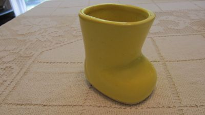 Ceramic boot decor- yellow- many uses