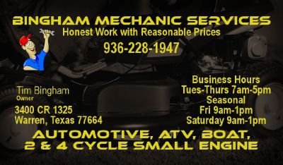 Automotive, ATV, Boat, 2 & 4 Cycle Small Engine Repair