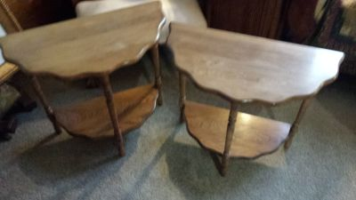 2x Antique Half Moon Tables