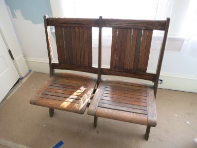 2-Seat Wood Folding Bench - Stadium or Theater