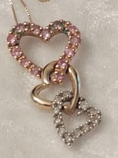 14K DIAMOND HEART NECKLACE AND CHARM