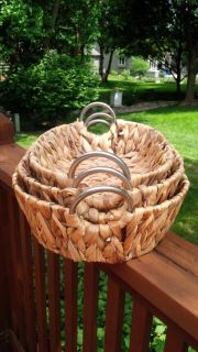 Handcrafted Water Hyacinth Reed Oval Nesting Baskets with Brushed Steel Rounded Handles - Set of 3