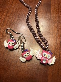 Pink owl necklace and earrings