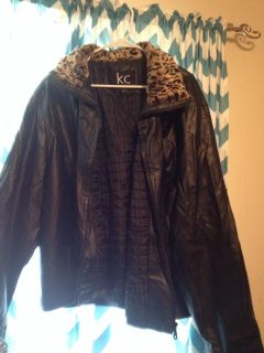 EUC faux leather jacket with faux fur around cuffs and collar 2X