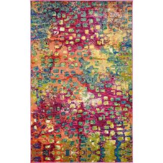 Brand New! Massaoud 5 1 x7 7 Pink Multi Colour Abstract Area Rug