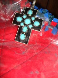 cross in black and troquise stones